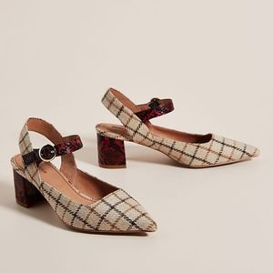 Anthropologie Mary Jane Plaid Snakeskin Slingbacks